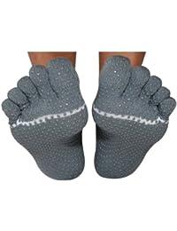 Hombre y Mujer 1par Toesox Yoga de dedos de tobillo Calcetines de algodón orgánico en clara Morado, color gris, tamaño large