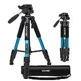 Trépied Zomei Q111 pour caméra de voyage Léger avec mallette de transport - Serrures à bascule à réglage rapide - Compatible avec les caméras Nikon Canon Sony compactes et sans miroir – Bleu