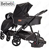 Bebebi | Modell ECO Wing | Hartgummireifen in Schwarz | 3 in 1 Kombi Kinderwagen Chestnut ECO Leather