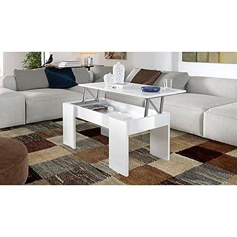 SWING Table basse transformable 100 cm - Blanc brillant