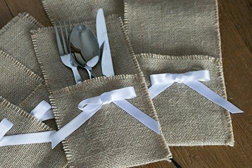 Besteck-Halter, Sackleinen Besteck Halter, Besteckhalter, Hochzeit Tisch Dekor, Wohnaccessoires. 2 Jute und Schleife Maßnahmen 22x12 cm.