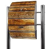 BANJADO Edelstahl Briefkasten groß, Standbriefkasten freistehend 126x53x17cm, Design Briefkasten mit Zeitungsfach Motiv Holzbretter