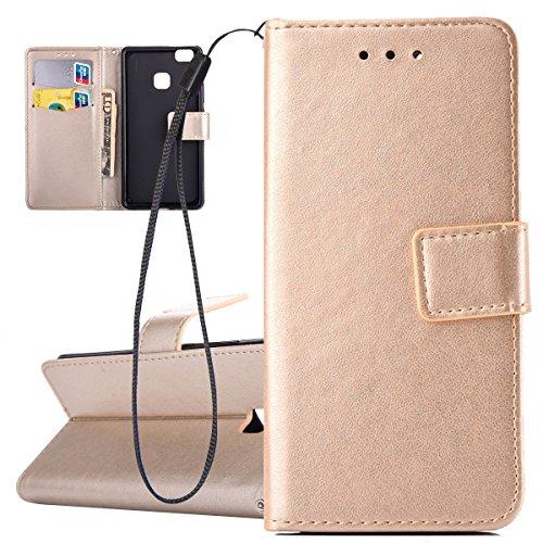Custodia per Huawei P9 Lite, ISAKEN Flip Cover per Huawei P9 Lite con  Strap, Elegante Bookstyle Contrasto Collare PU Pelle ...