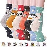 Womens Best Socks Gift Set-Cute Animals Art Cartoon Character Funny Novelty Crew (Animal - Dog Ringle 4pcs)