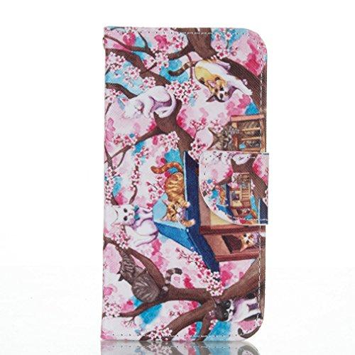 Housse iPhone 6 PLUS/6S PLUS OuDu ¨¦tui ¨¤ rabat pour iPhone 6 PLUS/6S PLUS Housse de Protection Coque PU Cuir ¨¦tui Portefeuille Flip Wallet Case Folio Holster Book Style Cover Coque Motif Original H Chats Mignons