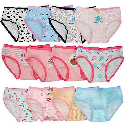 Kidear Kinder-Serie Mädchen-Schlüpfer 12 Packung Kinder Höschen Weiche Baumwolle Kleinkind Slip Unterwäsche Alter 2-10 Jahre (2-4 Jahre, Stil1)