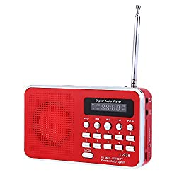 New Mini Portable FM Radio Rechargeable Digital LED MP3 Speaker (Red)