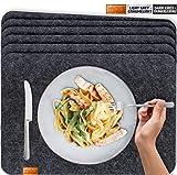 Miqio® - Design Tischset aus Filz | Marken Label aus echtem Leder | 6er Set Platzset (dunkel grau anthrazit) abwaschbar | Filzmatte Tisch Untersetzer Platzdeckchen...