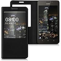 kwmobile Funda para Huawei Ascend Y635 - Case estilo libro de cuero sintético con ventanilla - Flip Cover plegable negro