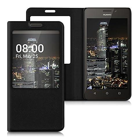 kwmobile Étui de protection à rabat avec couverture en cuir synthétique pratique et chic pour Huawei Ascend Y635 en noir