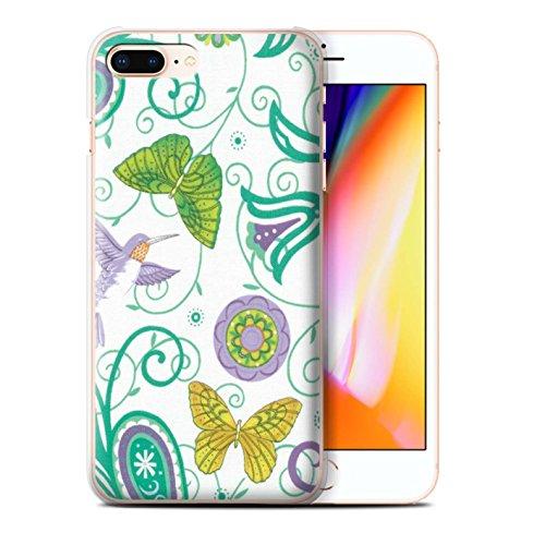 Stuff4 Hülle / Case für Apple iPhone 8 Plus / Grün/Orange Muster / Frühlingszeit Kollektion Gelb/Weiß