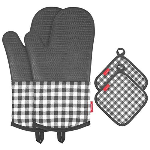 esonmus Ofenhandschuh Topfhandschuhe Hitzebeständige Silikon und Baumwolle 1 Paar und 2 Topflappen Grau - Topflappen