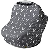 Stretchy Multi Use Carseat Canopy | Nursing Cover | Shopping Cart &High Chair Cover | Scarf - Grey Deer | Stag Head | Best Baby Gift For Boys &Girls | Fits Infant Car Seats | For Breastfeeding Moms