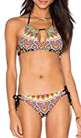 Generic Women's Ethnic Print Halter Two Piece Bikini Set Swimsuit XS As picture