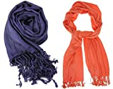 Nikita Crepe Navy Blue & Orange Colour S...