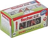 fischer DUOPOWER 5 x 25 - Universaldübel für eine Vielzahl von Baustoffen - Allzweckdübel für Bilder, Dekoration, Kabelkanäle uvm. - 100 Stück - Art.-Nr. 535452
