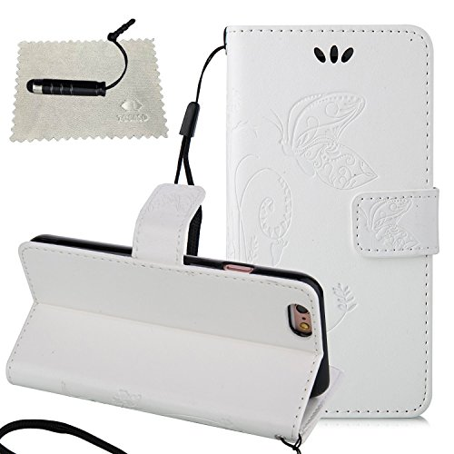 Cover per Apple iPhone 7 Custodia in Pelle,TOCASO Flip Wallet Case PU Pelle Caso per iPhone 7 Portafoglio Cover Farfalla Strap Ultra Sottile Leather Protettivo Cases Covers Shell Chiusura Magnetica Fu White