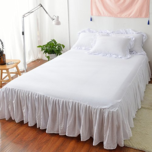 HAPPYDAYJUHUYGYGTFTFBVY Coton Pure Couleur Simple Princess Wind lit Jupe Feuille-G 180x200cm(71x79inch)