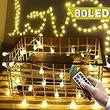 POMISTY Lichterkette Glühbirnen,Pomisty 10M 80LED LED Lichterkette Warmweiß Stimmungslichter,IP65 Wasserdicht 8 Modi Garten Lichterkette Dekoration Beleuchtung Kugel für Weihnachten, Hochzeit, Party