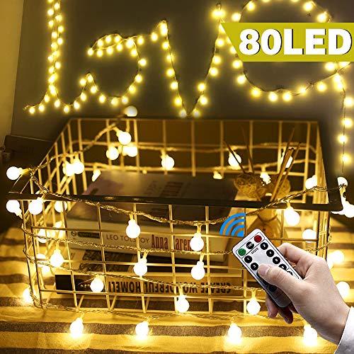 rnen,Pomisty 10M 80LED LED Lichterkette Warmweiß Stimmungslichter,IP65 Wasserdicht 8 Modi Garten Lichterkette Dekoration Beleuchtung Kugel für Weihnachten, Hochzeit, Party ()