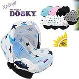 Original DOOKY HOODY ** Style UV+ ** Universal Verdeck / Dach für Maxi Cosi Cabrio / CabrioFix / Pebble / Citi, Römer und andere Babyschalen Gruppe 0+ als Sonnenschutz / Windschutz / SonnenDach / Sonnenverdeck (BLUE STARS)
