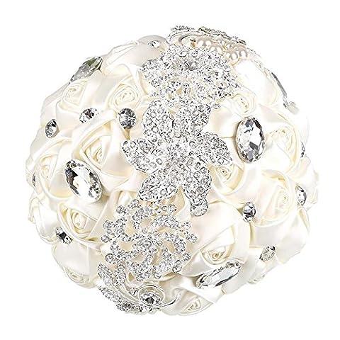 Soledi Bride Bouquet Milk White Crystal Wedding Rhinestone Brooch Bouquets Brides Hand Holding
