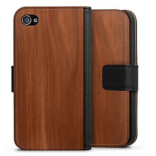 Apple iPhone 6s Hülle Premium Case Cover Kastanie Holz Look Sideflip Tasche schwarz
