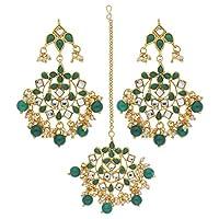 I Jewels Traditional Gold Plated Pearl & Kundan Maang Tikka With Earring Set (TE2022G)