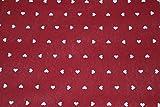 Tessuto Cotone Shantung Cuoricini Bianchi Fondo Rosso Composè Coordinato-135x140 cm