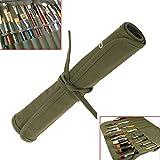 MOHOO Sac à crayon sac à pinceau brosse en toile verte sac multi-usages pour artiste / étudiant / voyage(Sans Crayons)