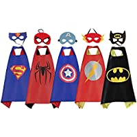 RioRand Comics Cartoon Heros Dress Up Disfraces 5 capas de satén con máscaras de fieltro