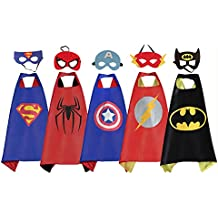 RioRand Comics Cartoon Heros Dress Up Disfraces 5 capas de satén con máscaras de fieltro