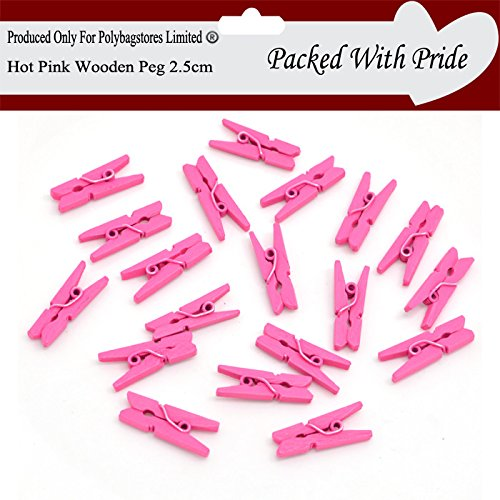 PACK OF 25 - HOT PINK - 25mm Small Plain Wooden Craft Pegs - Mini Clip Metal Spring - Wedding Decor - 25 Colours To Choose From - ( These Pegs Are produced and packaged especially for Polybagstores Limited� Hot Pink)