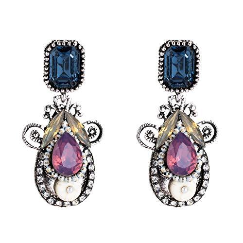 SHUCHANGLE Frauen Persönlichkeit Mode Diamond Multi-Layer Hohl Tropfenförmige Thema Ohrringe Geeignet Für Den Täglichen Partei Tragen, Violett