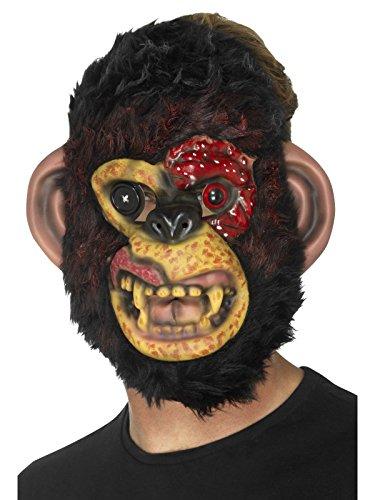 Smiffys Herren Zombie Schimpansen Maske mit Fell, One -