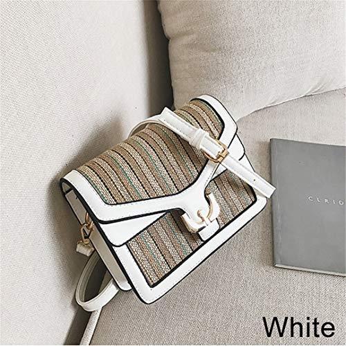 Handgemachte gewebte Streifen Muster Umhängetasche Sommer Bunte PU Leder Wrap Messenger Tote White-A
