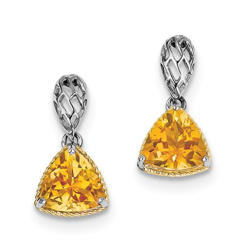 Sterlingsilber-Gold-Platte Accent Citrin-Ohrringe JewelryWeb Accent Platte