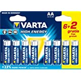 Varta - 4906SO - Piles LR6 High Energy - 6 piles LR6 AA + 2 offertes