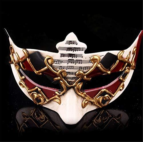 LPP Halloween-Maske, Maskerade, High-End-Öko-Make-up Kreative Unisex-Halbgesichtstanz Musiknote Umweltschutz Kunststoffschleier Red