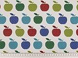 ab 1m: Kinderstoff, Äpfel, weiß-multicolor, 140cm breit