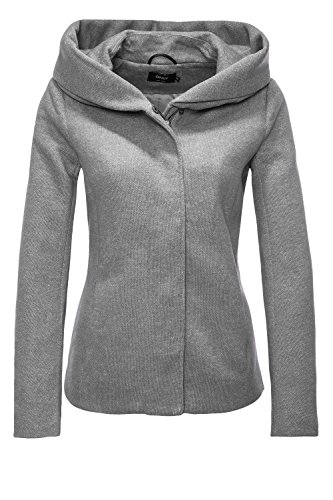 ONLY Damen Übergangsjacke Kurzmantel Kapuzenjacke Statement Mantel (36 (Herstellergröße: S), Light Grey Melange)