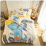 Zller2587 Winter Samt verdickt super weiche warme Bettdecke, Bettlaken/Matratzenbezug, Bettlaken Kinder-Cartoon-Bettwäsche 4er-Set Blätter 1