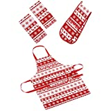 Nordic Snowflake And Reindeer Red And White Christmas 3 Piece Essential Set - Includes One Apron, One Double Oven Glove And One Pack Of 2 Tea Towels.