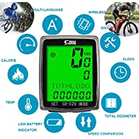 ARCELI Velocímetro de Bicicleta de Pantalla Grande Impermeable inalámbrico SD-579C Bicicleta Negra Impermeable