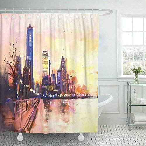 Doccia-Tende, Bath Curtain, Shower Curtains Landscape Print Colorful Water Digital Painting of City with Skyscraper And Ocean at Sunset Rastr Stock Llustration Waterproof Polyester