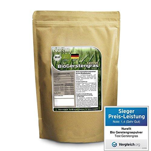 Nurafit Bio Gerstengraspulver - made in Germany - 250g / 0.25kg zertifizierte Spitzenqualität – für leckere Diät Shake mit vielen Vitaminen, Mineralstoffen und Spurenelementen