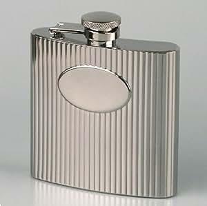 Flasque ronde en inox de 15cl avec hublot