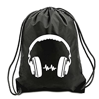 Dj Headphones Corded Shoulder Bag,swimming Bag,pe Bag,gymsac,drawstring Bag, Water Resistant