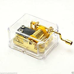 Imported Hand Crank Music Box Movement Play Love Story - Gold