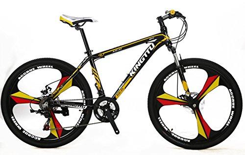 extrbici X3Mans Mountain Bike 43,2x 66cm Aluminium Legierung Rahmen halb-Aluminium Gabel Aufhängung mit Lockout 21Speed Shimano Shifting Gears 3-knife integrierter Rad Non-Vibrato MTB Double Disc Bremse, Schwarz / Gelb